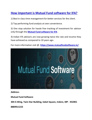 How important is Mutual Fund software for IFA?