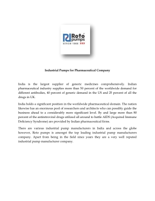 Industrial Pumps for Pharmaceutical Company