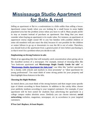 Mississauga Studio Apartment for Sale/Rent