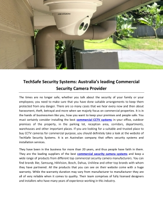 TechSafe Security Systems: Australia's leading Commercial Security Camera Provider