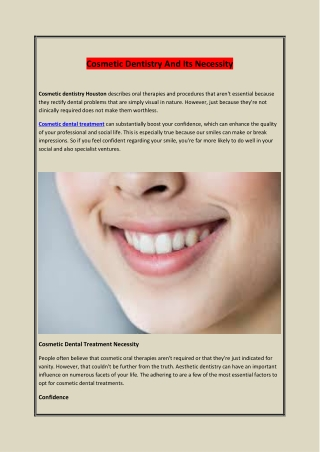 Cosmetic Dentistry And Its Necessity