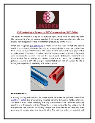 Utilize the Major Process of PVC Compound and PVC Pellets