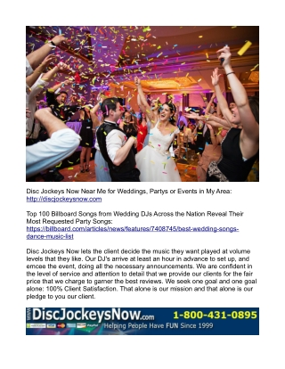 Disc Jockeys (DJs) near me for wedding service or reception partys and events