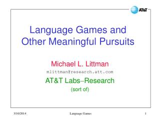 Language Games and Other Meaningful Pursuits