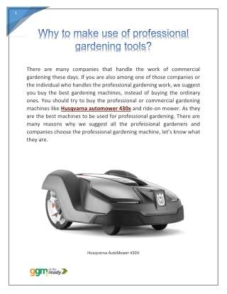 Why to make use of professional gardening tools?