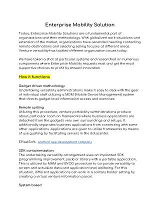 Enterprise mobility solution | EPixelSoft