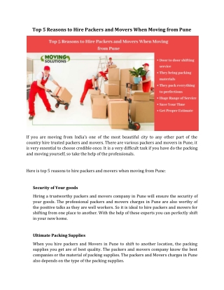Top 5 Reasons to Hire Packers and Movers When Moving from Pune