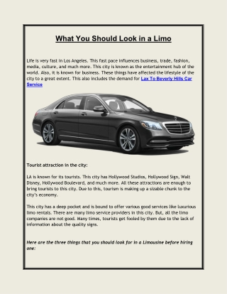 What You Should Look in a Limo