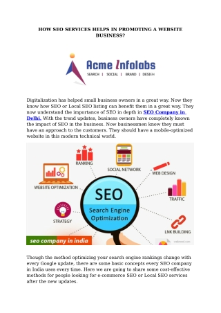 HOW SEO SERVICES HELPS IN PROMOTING A WEBSITE BUSINESS?