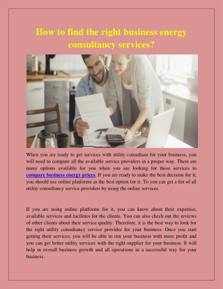 How to find the right business energy consultancy services?