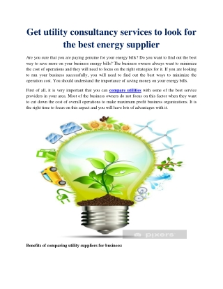 Get utility consultancy services to look for the best energy supplier