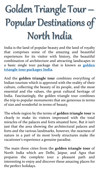 Golden Triangle Tour – Popular Destinations of North India