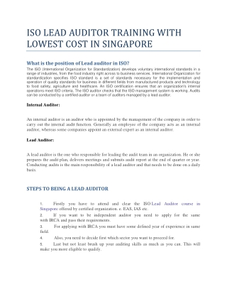 ISO LEAD AUDITOR TRAINING WITH LOWEST COST IN SINGAPORE | ISO LEAD AUDITOR COURSE