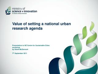 Value of setting a national urban research agenda