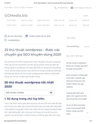 25 thủ thuật wordpress – được các chuyên gia SEO khuyên dùng 2020