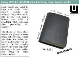 Buying WALLETERAS Black Bifold Crazy Horse Leather Wallet
