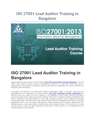 ISO 27001 Course in Bangalore | ISO 27001 Training in Bangalore | ISO 27001 Lead Auditor Training in Bangalore