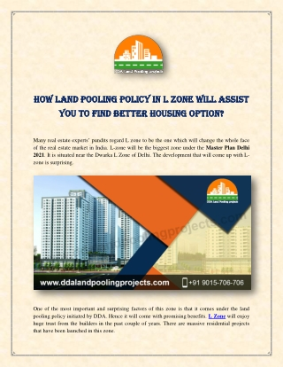 How Land Pooling Policy in L Zone Will Assist You To Find Better Housing Option?