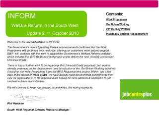 INFORM  Welfare Reform in the South West       	Update 2  –  October 2010