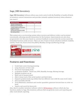 Sage Ubs Inventory | Sage Ubs Inventory Software | User Basic Software