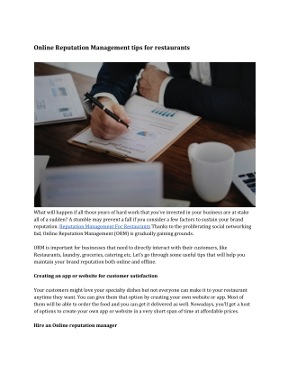 Online Reputation Management tips for restaurants