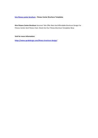 hire fitness center brochure - Fitness Center Brochure Templates
