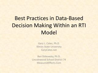 Best Practices in Data-Based Decision Making Within an RTI Model