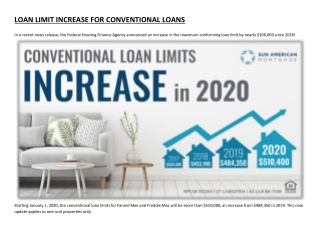 LOAN LIMIT INCREASE FOR CONVENTIONAL LOANS