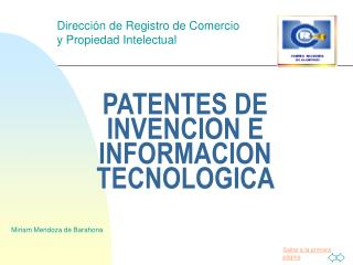 PATENTES DE INVENCION E INFORMACION TECNOLOGICA
