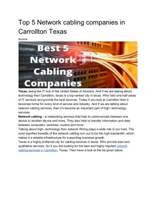 Top 5 network cabling solutions Carrollton