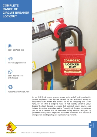 Complete Range of Circuit Breaker Lockout Devices by E-Square
