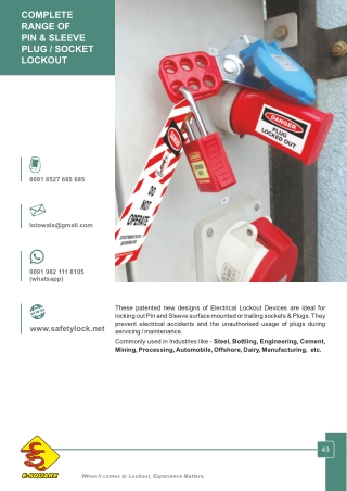 Pin and Sleeve Plugs and Sockets Lockout Devices