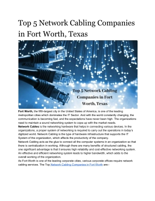 Best 5 network cabling services Fort Worth tx