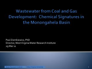 Wastewater from Coal and Gas Development:  Chemical Signatures in the Monongahela Basin