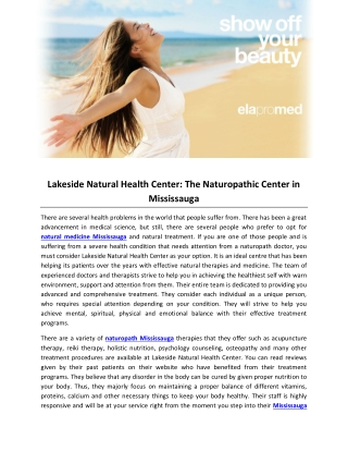Lakeside Natural Health Center- The Naturopathic Center in Mississauga