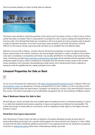 Villa, Apartment and property sale limassol cyprus