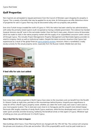 Villa, Apartment and cyprus property market