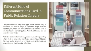 Different Kind of Communications used in Public Relation Careers