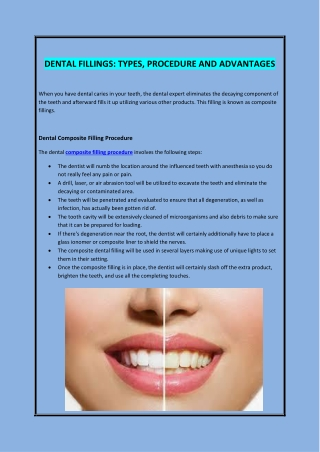 DENTAL FILLINGS: TYPES, PROCEDURE AND ADVANTAGES