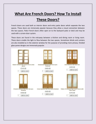What Are French Doors? How To Install These Doors?