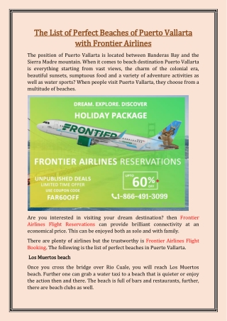 The List of Perfect Beaches of Puerto Vallarta with Frontier Airlines