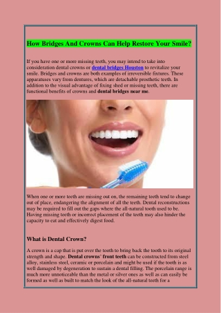 How Bridges And Crowns Can Help Restore Your Smile?