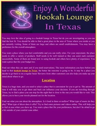 Enjoy A Wonderful Hookah Lounge In Texas