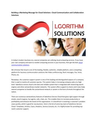 Cloud Contact Center Solutions - Lgorithmsolutions.com