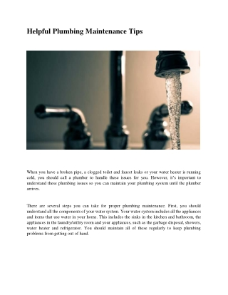 Helpful Plumbing Maintenance Tips