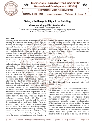 Safety Challenge in High Rise Building