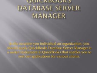 QuickBooks Database Server Manager Install & Download