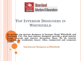 Top Interior Designers in Whitefield