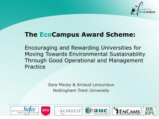 The EcoCampus Award Scheme:   Encouraging and Rewarding Universities for Moving Towards Environmental Sustainability Thr