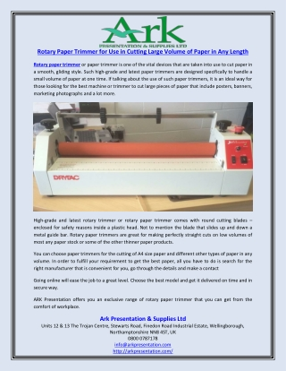 Rotary Paper Trimmer for Use in Cutting Large Volume of Paper in Any Length